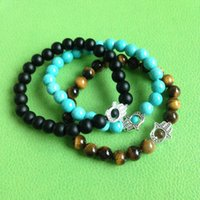 Wholesale Turquoise Hamsa Bracelet - SN0558 Hamsa Bracelet men Tiger eye Turquoise Matte Black Onyx Stone Bracelets Yoga Jewelry men stone bracelet