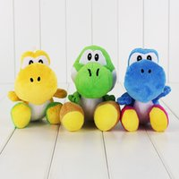 peluche gratis yoshi al por mayor-18 cm 3 Estilos Super Mario Yoshi Felpa Juguete Muñeco de Peluche Suave para niños regalo de juguete envío gratis retail