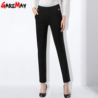 Wholesale Women Straight Elegant Black Pants - Women Trousers Work Wear Elegant Spring Slim Cotton Long Black Pants Plus Size Female Pants Elastic Pantalones Mujer GAREMAY