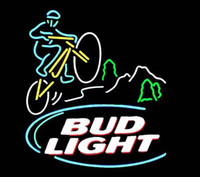 "Wholesale Blue Custom Mountain Bike - Bud Light Mountain Biker Neon Sign Handmade Custom Real Glass Tube Store Bar Bike Racing Game Room Club Display Neon Sign 24""X24"""