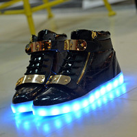 Wholesale High Flash Point - LED Luminous Women & Men high top Sneakers LED Shoes For Adults USB Charging flash Lights Shoes