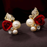 Wholesale Small Pearl Gold Earrings - Fashion Small Silver Jewelry Elegant Women Lady Girls Pair Red Rose Flower Imitation Pearl 18k Yellow Gold Plated Crystal Stud Earring