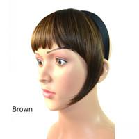 Wholesale Bang Hoop - Sara Bangs Hair Hoop Shuangbin Clip in Bangs Straight Synthetic Hair Bang Fringe Franja Black Brown Hairpiece Frange