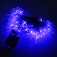 Wholesale Cross Christmas Led Lights - Wholesale- New Battery Powered strings fairy lights For Xmas Party Cross String Light White Blue RGB Holiday light strings Free Shiping
