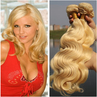 Wholesale Wavy Platinum Blonde - 9A Platinum Blonde Russian Hair Body Wave Weaving 3 Bundle Deals Unprocessed Virgin Human Hair Wefts Bleached Blonde Wavy Hair Wefts