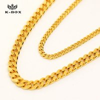 Wholesale Gold Wide Chain - DHL free 2017 super AAAAAA 24K 3mm 5mm 24 30 inch Wide Solid Gold Plated Small Miami Cuban Curb Link Chain men chain Necklac men necklace