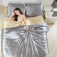 Wholesale Satin Bedding Wholesale - wholesale Silk Satin luxury bedding set 4pcs x 5 sets bed sheet  duvet cover   pillowcase 4pcs  set Silver violet red Home textile
