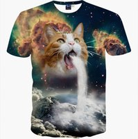 Wholesale Space Tee Cat - New Fashion Space Galaxy men brand t-shirt funny print super power cat Jetting water 3D t shirt summer tops tees