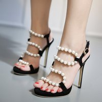 Wholesale High 14 Cm - Free shipping! Classic 14 cm white pearl black heel high-heeled sandals fashion shoes Pearl high heels women's shoes