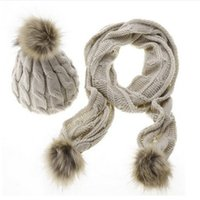 Wholesale Cheap Wool Scarves - Cheap wholesale women's hat Europe and the United States New Women's wool scarf hat set 8 word hat scarf Kit