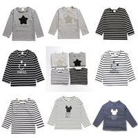 Wholesale Baby Long Sleeve Star - Baby Long Sleeve T-shirts Cotton Striped Stars Printed Tops Tees Spring Autumn Kids Cartoon Mickey Clothing Free DHL 549