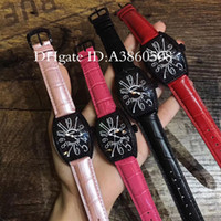 Wholesale Acrylic Diamonds Blue - Top High Quality Luxury Brand Women Watches Leather Strap Black Diamonds Watches Tonneau Quartz Wristwatches FM-01