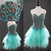 Wholesale Mini Peacock Feather Dress - Sweetheart Peacock Feather Prom Dresses Blue Green Beaded Open Back Tulle Ruffles Layered Formal Evening Gowns Short Cocktail Dresses