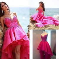 Wholesale Crystal High Low Cocktail Dress - Fuchsia High Low Fashion Prom Dresses 2016 Sweetheart Beads Crystal Ruffles Vintage Lace Vestido De Robe Formal Evening Cocktail Gown BA3386