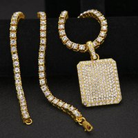 Wholesale Tennis Slide Charm - New HipHop Necklace Jewelry Gold Silver Full Of Rhinestone Heavy Dog Tag with Tennis Chain Men And Women