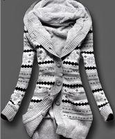 Wholesale Hooded Outwear Women - Wholesale-2016 Winter Women Cardigan Sweaters Print Knitted Long Fur Hooded Outwear Casual Sweater Warm Thick Wool Coat