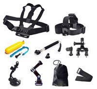 Wholesale Cam Accessories - 9 in 1 Action Cam Accessories kit Head Chest Mount Floating Monopod Pole Accessories set For GoPro Hero 1 2 3 4 SJ4000 SJ5000 SJ6000 Camera