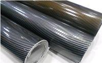 Wholesale Carbon Fiber 2d - 2D Carbon Fiber Vinyl Film Car Sticker Bubbles free Glossy Surface Black-Silver Black-Gold color 1.52*30m with Free Gift Film Squeegee