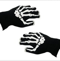 Holloween Night Luminous Gloves mitts Mulheres Homens Winter Warm Knitting Esqueleto Ghost Claw Five Fingers Luvas Cosplay Christmas Gloves Gifts