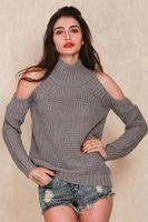 Wholesale Off Shoulder Turtleneck - 2016100931 turtleneck off shoulder knitted sweater women autumn Fashion tricot pullover jumpers Pull femme oversized capes