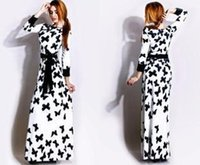 Wholesale Hot New Novelty Products - New products 2015 New Hot Sale Long Sleeve Maxi Dress Ankle-Length Butterfly Print Long Dress with Belt Novelty White Blue Women Dress New20