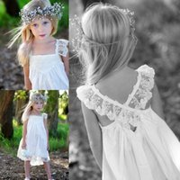 Wholesale Short Fairy Lights - Square Neck Criss-cross Lace Edge Flower Girl Dresses Beaded Knee Length Chiffon Ruched Flowergirl Dresses Fairy Girls Party Dress Gown