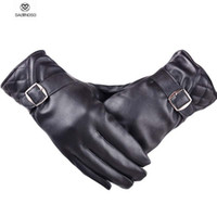 Wholesale Driver Gloves For Men - Wholesale-Motocycle Driver Winter Gloves With Metal Buckle Men Leather Gloves Windbreaker Cool Men's Warm Glove For Boys Waterproof