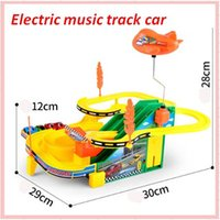 Wholesale Cars Race Track Set - 2017 Hot sale Electric Music Track Car Children Racing Tunnel Scale Plastic DIY Assemble Parking Lot Model Kids Toys Gift Set