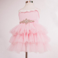 Hot Summer Girls Princesa Princesa Dress Sash Rhinestones Pink Kids Lace Tulle Ball Gown Tutu Vestido sin mangas Niños Layer Bubble Cake Dress