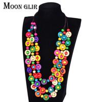 perlen handgemachte aussage halskette großhandel-Böhmen ethnische Aussage Halsketten klassische Mode Boho Schmuck 2 Farbe handgemachte Kokosnussschale diy Perlen Choker Halskette für Frauen