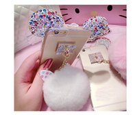 Wholesale Diamond Bling Bow Case - Fashion Cute 3D Bling Diamonds Metal Rabbit ear Fur ball Bow knot Pompom Tassel Soft Case Cover For iphone 6 6s plus