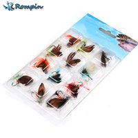 Wholesale Wholesale Fly Tying Feathers - Rompin 12pcs set Fly Tying Fly Fishing Lure Dry Flies Hooks Feather Wing Artificial Pesca Bait Lure for Carp Trout Winter Pesca