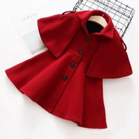 Wholesale Girl Kids Clothes Shops - 2017 new Autumn Winter Kids Girls Woolen Outwear Princess Woolen Cloak Children Clothing 2-6T free shopping
