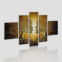 Wholesale Modern Abstract Painting Tree - Modern Abstract Art Kissing Tree Canvas Painting Wall Art Home Decoration 5 Panel Hand Paint Oil Painting