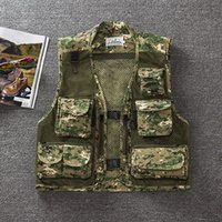 Wholesale camouflage waistcoat - Wholesale-free shipping summer men's plus size fishing jacket Camouflage mesh vest outdoor casual multi-pocket waistcoat men Hot