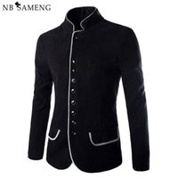 Wholesale Mandarin Collars Blazer - Wholesale- 2016 New Luxury Men Jacket High Quality Fashion Stand Collar Wool Mens Blazer Coat Slim Fit Cotton Terno Masculino 13M0603