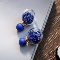 Wholesale Sphere Earrings - Quicksand Glass Sphere Bubble Ear Wire Hook Nail Woman Star Hourglass Crystal Size Pearl Earring post bead employee welfare Gold