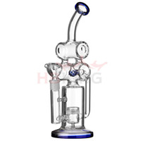 Wholesale Pyrex Clear Glass Bowls - Double Barrel Glass bong Recycler Shower Head Barrel Percolator Water Pipe Clear Pyrex Glass with bowl oil rig glass dome