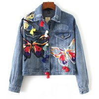 Wholesale 2016 hot new women s fan in Europe early autumn new long sleeved denim jacket lapel butterfly tassel embroidery