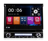 Wholesale Theft Mirror - 7 Inch 1 Din Car DVD Radio GPS Player With Motorized Retractable Monitor Removable Panel Anti-theft Mirror-Link 7 colors light Universal
