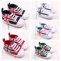 Wholesale Boys Union Jack - Wholesale- Fashion New Classic Leisure Infant Toddler First Walker Footwear Newborn Baby Sports Union Jack Soft Soled Crib Sneakers Shoes