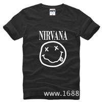 Wholesale Nirvana Clothing - New Fashion Nirvana Men T Shirts Cotton Short Sleeve O-neck Nirvana Kurt Cobain Smile Face T shirt Men Rock Band T-shirt Summer Men Clothing