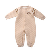 Wholesale Warm Rompers - 2017 new arrival top quality children's clothing baby rompers winter clip cotton warm long-sleeved climbing male baby conjoined clothing