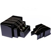 Wholesale Acrylic Bangle Stand - Multi Function Jewelry Display Riser Black Table for Shop Counter Shelf Jewellery Necklace Rings Bangles Watches Exhibition Set of 3 PCS