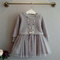 Wholesale Chiffon Kids Ruffle Tops - 2016 New Autumn Little Girls Long Sleeve Knit Skirt Kids Dress Fall Clothing Princess Skirt 2 pieces Knit Top