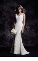 Wholesale Dress Wedding Blanca - 2016 Lace Mermaid Wedding Dress With Florals Applique Spaghetti Straps V Neckline 4601 Paloma Blanca Abiti Da Sposa Sep
