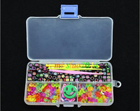 Wholesale Rainbow Loom Gold Silver - Wholesale - Black Silver And Gold Alphabet Beads+S-Clips+C-Clips+Hook+Box Kit For Rainbow Loom Rubber Bands free shipping DHL SF FEDEX