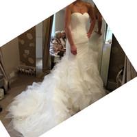 Wholesale Organza Sweetheart Mermaid Wedding Dress - Organza Ruffle Wedding Dress Mermaid 2016 Pleats Sweetheart Elegant Fitting Bridal Dresses Zip Backless Long Chapel Train Skirt Bride Gowns