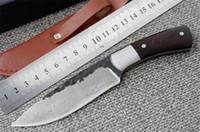 facas de caça artesanal venda por atacado-Feito à mão faca Recta forjada Padrão de Aço Damasco faca de caça lâmina fixa faca 58HRC alça de ébano ferramentas de Sobrevivência de acampamento