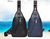 Wholesale Men S Blue Shoulder Bag - 2016 new men 's solid color inclined zipper lock chest Korean casual shoulder bag fashion sports bag